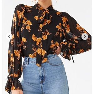Floral Print Tie- Neck Top